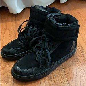 Nasty Gal Faux Croc Leather Suede Hi Top Sneakers